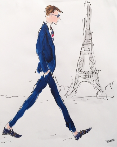 Drawing of man in blue suit by Richard Haines