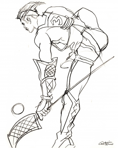 Drawing of lacrosse player by Antonio Lopez