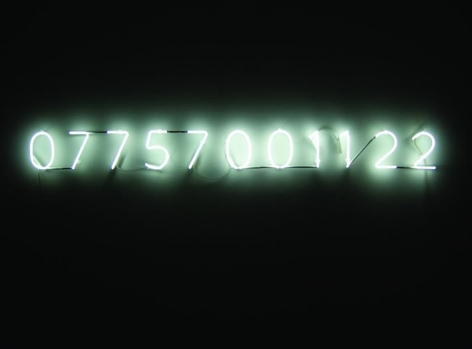 Katie Paterson. Vatnajökull (the sound of), 2007/8.Hydrophone, mobile phone, DE500, white neon, variable.Courtesy of the artist & PKM Gallery.