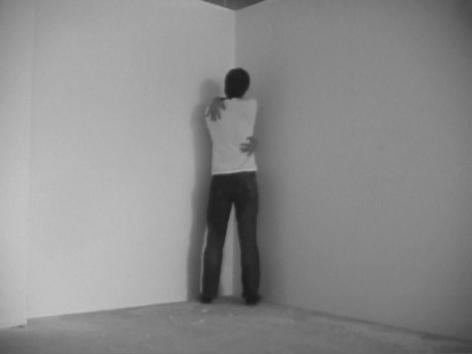 Hernan Bas. All By Myself, 2004.Single-channel video project b/w, silent, 1min 30sec.Courtesy of the artist & PKM TrinityGallery.
