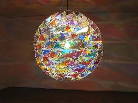 Olafur Eliasson. Emotional activity sphere, 2010. Metal, color effect filter glass, light, wire, Diameter 113.8 cm
