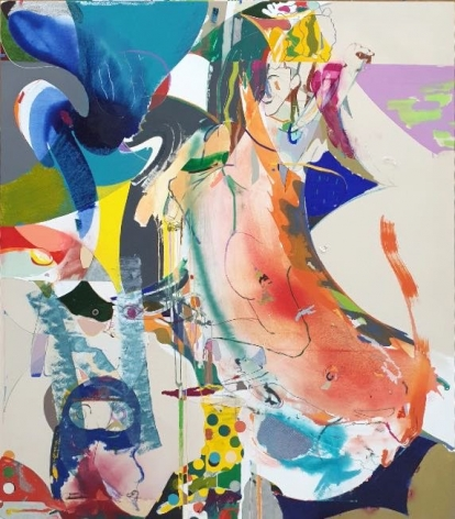 Young Do Jeong.Mud play in my place,2020,Acrylic, spray paint, charcoal, graphite, and color pencil on canvas,208 x 185 cm. Courtesy of the artist & PKM Gallery.