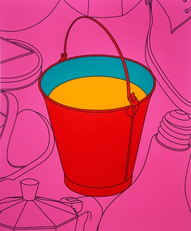 Michael Craig-Martin. Untitled (Bucket), 2009. Acrylic on aluminium, 182.9 x 152.4 cm.Courtesy of the artist & PKM Gallery.