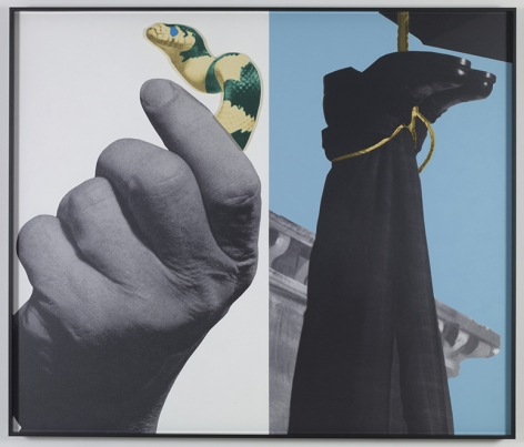 John Baldessari.Hands and/ or Feet (Part One): Snake/Hanging Person, 2009.Three dimensional archival print laminated with Lexan and mounted on Sintra with acrylic paint,149.9 x 176.8 cm.Courtesy Marian Goodman Gallery, New York.