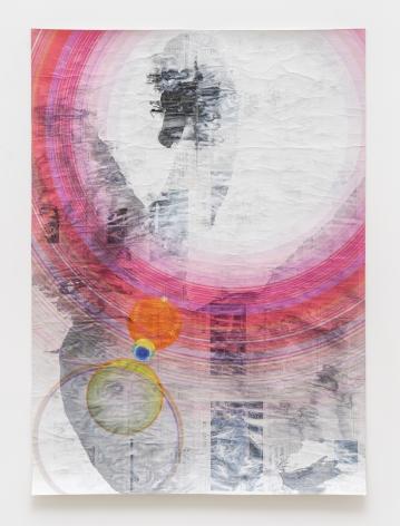Gabriel Vormstein.Swansong III, 2021 Pencil, watercolor, UV-print on newspaper,156.5 x 111 cm.Courtesy of the artist, Meyer Riegger, Berlin/Karlsruhe, and PKM Gallery, Seoul.