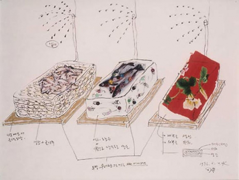 Lee Bul. Fish drawing: No. 2, 1996. Mixed media on paper, 57.2 x 72.7 cm.Courtesy of the artist & PKM Gallery.