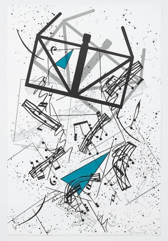 Claes Oldenburg and Coosje van Bruggen. Falling Notes(Edition of 60 + 12AP + 6PP + 1BAT), 2006.Lithograph, 121.3 x 80.6 cm. © 2006 Claes Oldenburg and Coosje van Bruggen. Photo courtesy Pace Gallery.