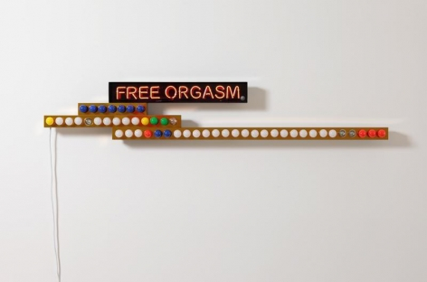 CODY CHOI. Power of Bluff-free Orgasm, 2017, Neon, light bulb, stainless steel, candy paint, electric sensor, 33.6 x 200 x 12 cm. Courtesy of the artist & PKM Gallery.