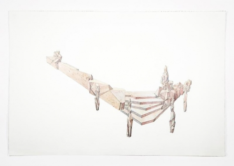 Lee Bul. Drawing for a public project in deep Burgundy (wood), 2009. Pencil, color pencil, acrylic on paper, 80 x 120cm.