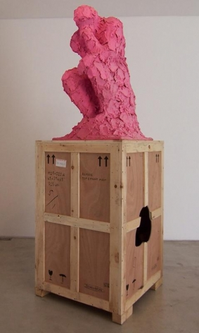 Cody Choi. The Thinker, December #3, 1996. Toilet Paper, Pepto-Bismol, Wood, 111,8 x 91,4 x 27,9 cm. Courtesy of the Artist & PKM Gallery.