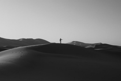 Katie Paterson. Inside this desert lies the tiniest grain of sand, 2010.Silver gelatin photograph, 120 x 80 cm.Courtesy of the artist & PKM Gallery.