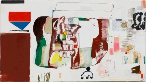 HYUNJIN BEK. Painting 1-02 for UnemploymentBankruptcyDivorceDebtSuicide Rest Stop, 2017, Oil on oil paper for oil paint, 130 x 240 cm (Frame: 137.2 x 242.7 x 4.7 cm). Courtesy of the artist & PKM Gallery.