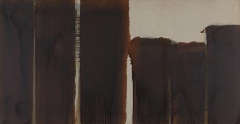 Yun Hyong-keun. Burnt Umber & Ultramarine, 1987 - 1989, Oil on linen, 120.3 x 232.5 cm. Courtesy of PKM Gallery.