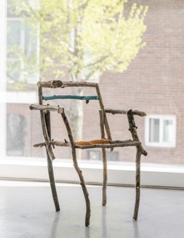 Gabriel Vormstein.Skeletal Chair, 2021 Branches, screws, spraypaint, 83 x 55 x 52 cm.Courtesy of the artist, Meyer Riegger, Berlin/Karlsruhe, and PKM Gallery, Seoul.