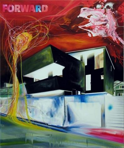Noori Lee. House 31, 2009.Oil and acrylic, gouache, enamel on canvas on canvas, 120 x 100 cm.Courtesy of the artist & PKM Gallery.