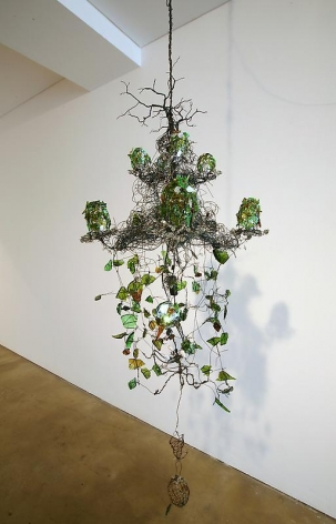 Bae Young-whan. Root in A Minor, 2008.Shards of wine bottles, various liquor bottles, iron, LED lights, epoxy, h 130 x dia 57 cm.Courtesy of the artist & PKM Gallery.