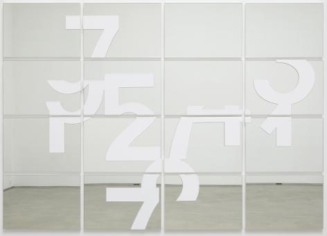 Darren Almond. Reflect Within IV,2018,Acrylic on mirrored glass,146 x 206 x 3 cm (panels: 4 x 4).