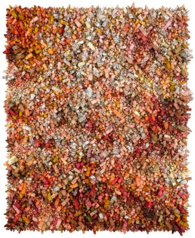 Kwang Young Chun, Aggregation18-JA013, 2018, Mixed Media with Korean Mulberry paper, 174cm x 143cm. Courtesy of the artist & PKM Gallery.