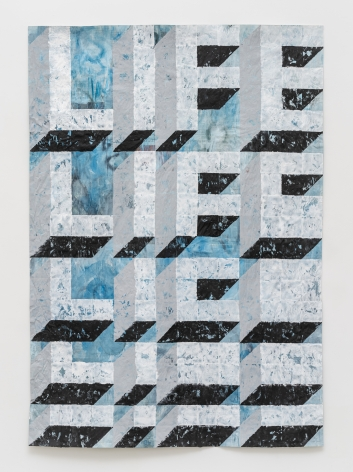 Gabriel Vormstein.Lifemorph, 2021, Watercolor, acrylic on newspaper,208 x 145 cm.Courtesy of the artist, Meyer Riegger, Berlin/Karlsruhe, and PKM Gallery, Seoul.