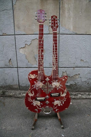 Bae Young-whan. The Way of Man - FirstLove3, 2007. Double guitar built with abandoned sewing machine cabinet, mother-of-pearl inlay, 110 x49 x 9 cm.