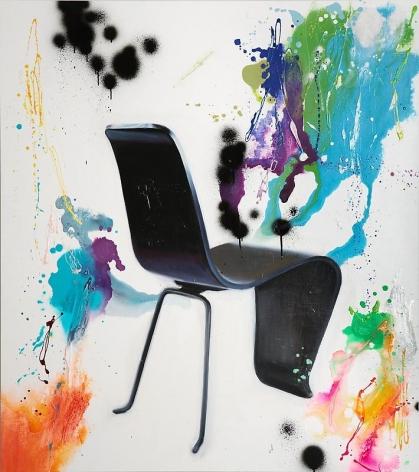 Noori Lee. Chair 1, 2008. Oil and acrylic, gouache, enamel, black spray on aluminum, 134 x 120 cm.