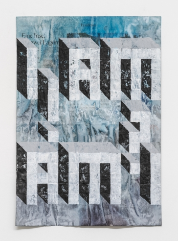 Gabriel Vormstein.The question,2020,Watercolor, acrylic on newspaper,56 x 38 cm.Courtesy of the artist, Meyer Riegger, Berlin/Karlsruhe, and PKM Gallery, Seoul.