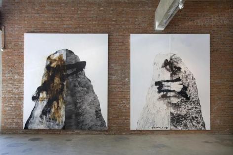 Shang Yang. Dong Qi Chang Plan-21/Dong Qi Chang Plan-20, 2008.Mixed medium on canvas, 360 x 290 cm/360 x 306 cm.Courtesy of the artist & PKM Gallery.
