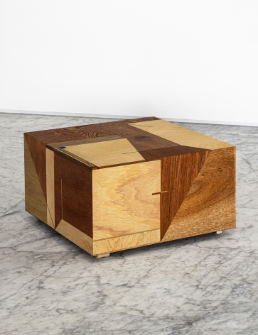 Koo Hyunmo.Table - 달로부터Table - from the moon, 2021, Plywood, brass,50 x 50 x 28.5 cm.Courtesy of the artist & PKM Gallery.