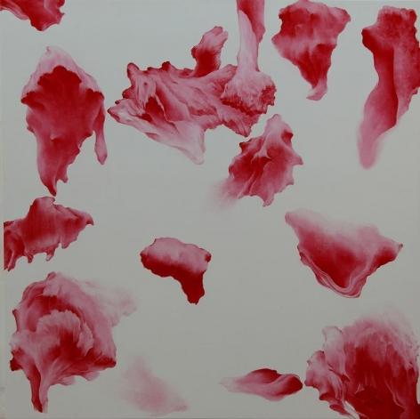 Moon Beom. Secret Garden #258_white, red, 2011. Acrylic, oilstick on panel, 122 x 122 x 7 cm. Courtesy of the Artist & PKM Gallery.