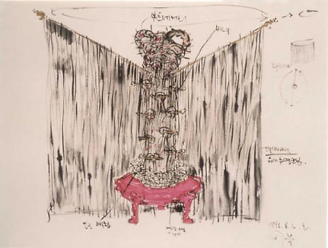 Lee Bul. Hair drawing: No. 1, 1996. Mixed media on paper, 57.2 x 72.7 cm.Courtesy of the artist & PKM Gallery.