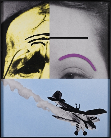 John Baldessari. Raised Eyebrows/ Furrowed Foreheads: Airplane Falling, 2008. Three dimensional archival print laminated with lexan and mounted on Sintra with acrylic paint, 183.5 x 147.6 x 10.1 cm. Courtesy Marian Goodman Gallery, New York.