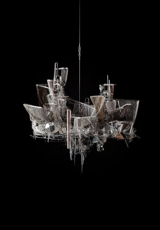 Lee Bul. A Perfect Suffering (After Bruno Taut No.4), 2011. Crystal, glass and acrylic beads on nickel-chrome wire, stainless-steel and aluminum armature, 163 x 171 x 110 cm