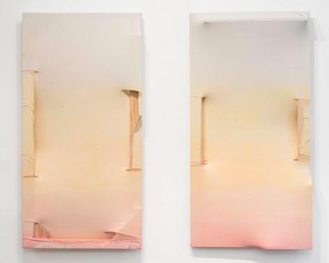 MARIA WALKER. Goodbye Brooklyn, 2015, Acrylic, unprimed canvas, wood, 88.9 x 175.2 x 14 cm each. Courtesy of the artist & PKM Gallery.