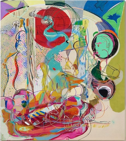 Young Do Jeong. Bebe, one more time, 2013-2016. Acrylic, spray paint, ink charcoal, oil stick, color pencil, graphite, marker, conte, and pastel on canvas, 208 x 185 cm. Courtesy of the artist and PKM Gallery.