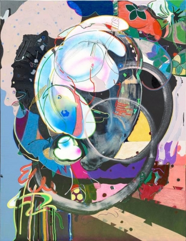 Young Do Jeong. Listen, 2015-2016. Acrylic, spray paint, color pencil, conte, and marker on canvas, 145.5 x 112 cm. Courtesy of the Artist & PKM Gallery.