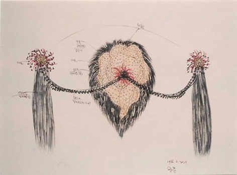 Lee Bul. Her name is psyche drawing, 1996. Mixed media on paper, 57.2 x 72.7 cm.Courtesy of the artist & PKM Gallery.