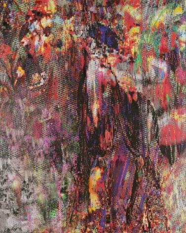 CODY CHOI. Stolen Data Animal Totem, Tiger#2 , 2018, Oil, UV Ink, mesh, cloth, 162.2 x 130.3 cm. Courtesy of the artist & PKM Gallery.