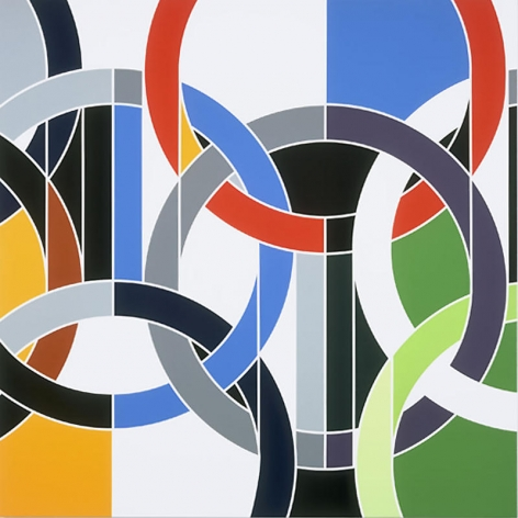 Sarah Morris. 1936 [Rings], 2006.Household gloss on canvas, 214 x 214 cm.Courtesy of the artist & PKM Gallery.