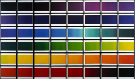 Olafur Eliasson. The color spectrum series (Ed. 18), 2005. 48 colour photogravure prints, Each image 37.3 x 48.3 cm, overall either 238.8 x 407.4 cm or 34.5 x 24 m.Courtesy of the artist & PKM Gallery.