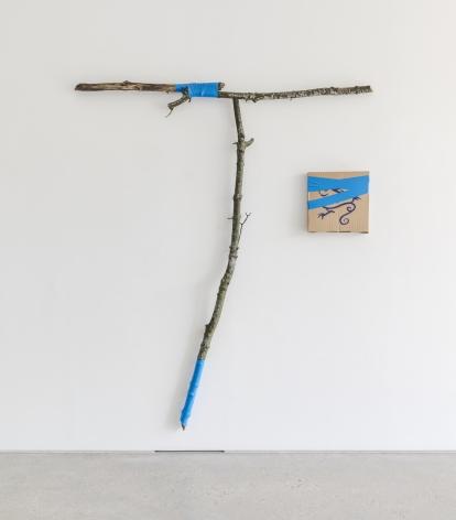 Gabriel Vormstein.T.o., 2021,Branches, screws, tape, pizzabox,196 x 166 x 9 cm.Courtesy of the artist, Meyer Riegger, Berlin/Karlsruhe, and PKM Gallery, Seoul.