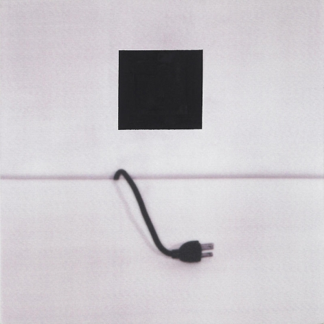 John Baldessari. Electric Cord(Male) : with Black Square, 1998.Archival ink-jet and acrylic paint on canvas, 120.7 x 120.7 cm. Courtesy of the artist & PKM Trinity Gallery.