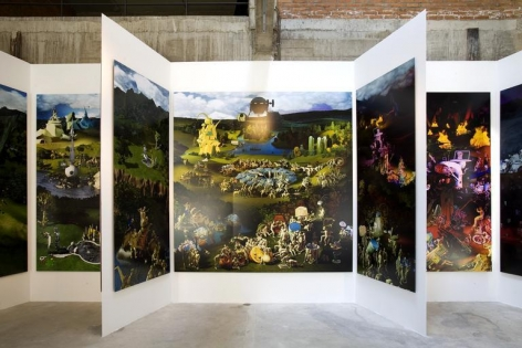 Miao Xiaochun. Microcosmos, 2008.C-print, 9 panels; central panel 300 x 286 cm; wings 300 x 120 cm.Courtesy of the artist & PKM Gallery.