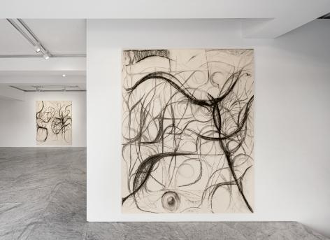 """Installation view of """"Peppi Bottrop : schwarze schraube deutschland"""" at PKM+. Courtesy of PKM Gallery."""