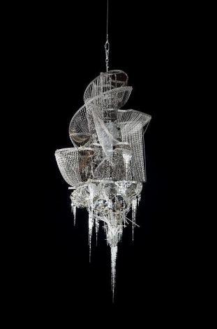 Lee Bul. Sternbau No. 29, 2010. Crystal, glass and acrylic beads on steel and bronze chains, stainless-steel and aluminum armature, 180 x 91 x 74 cm.