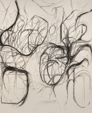 Peppi Bottrop, bl.but. Gl, 2021, Graphite and coal on canvas, 217 x 178 cm. Courtesy of the artist, Meyer Riegger, Berlin/Karlsruhe, and PKM Gallery, Seoul.