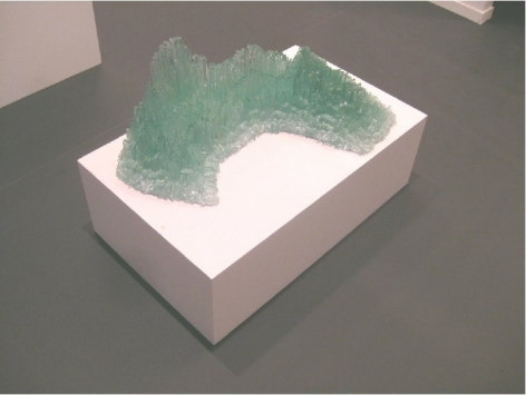 Isa Melsheimer. Vulkan, 2012.Glass, silicone, polycarbonate, 38 x 69 x 50 cm,Courtesy of the artist andEsther Schipper.