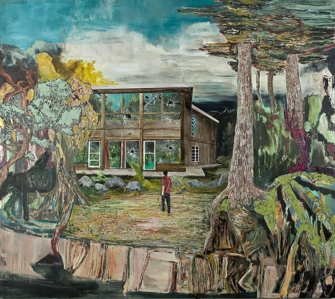 Hernan Bas. David & Goliath (de Kooning's studio, East Hampton NY), 2012.Acrylic, airbrush and silkscreen on linen, 243.8 x 274.3 cm.Courtesy of the artist & PKM TrinityGallery.