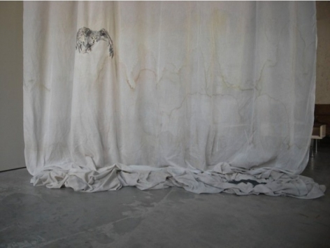 Isa Melsheimer. Vorhang (Eule), 2012.Fabric, thread, pearls, 300 x 300 x 40 cm (approx).Courtesy of the artist andEsther Schipper.