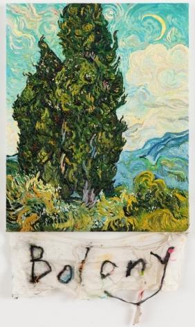 CODY CHOI. Episteme Sabotage-Bolony, 2014, Oil on canvas, cloth, thread, 86.3 x 48.2 cm. Courtesy of the artist & PKM Gallery.