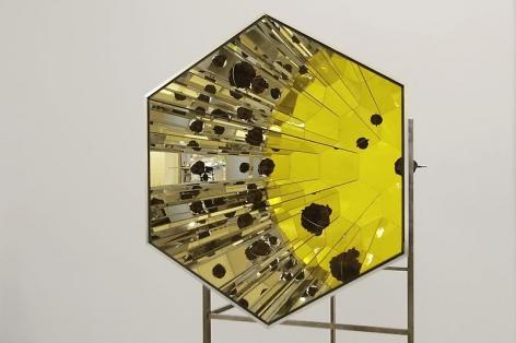 Olafur Eliasson. Lava kaleidoscope, 2012.Aluminium, stainless steel, mirror, colored glass(yellow), lava rock, 211 x 88.5 x 220 cm. Courtesy of theartist & PKM Trinity Gallery. © 2012 Olafur Eliasson.